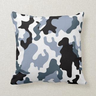 Grey Tones Military Camo Throw Pillow