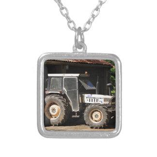 Grey tractor, El Camino, Spain Silver Plated Necklace