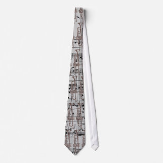 Grey Trumpet & Music Notes Tie