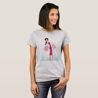 Grey tshirt for girl with Shopping girl