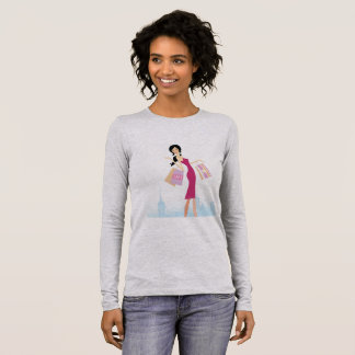 Grey tshirt for girl with Shopping woman