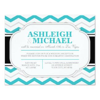 "Grey & Turquoise Chevron Wedding Reception ONLY 4.25"" X 5.5"" Invitation Card"