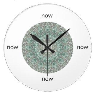"""Grey & Turquoise Mandala """"Now"""" Large Clock"""