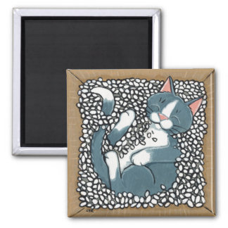 Grey Tuxedo Cat Sleeping in Box of Packing Peanuts Magnet