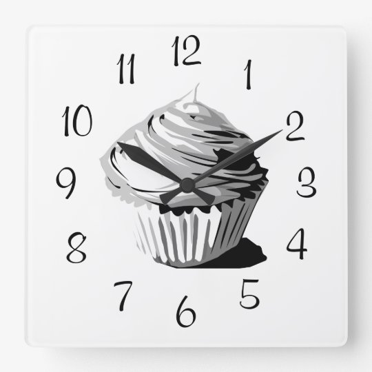 Grey vector cupcake wall clock