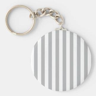 Grey Vertical Stripes Basic Round Button Keychain