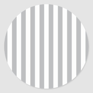 Grey Vertical Stripes Classic Round Sticker
