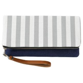 Grey Vertical Stripes Clutch