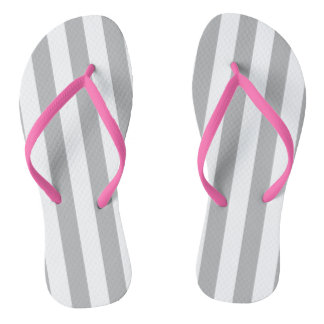 Grey Vertical Stripes Flip Flops