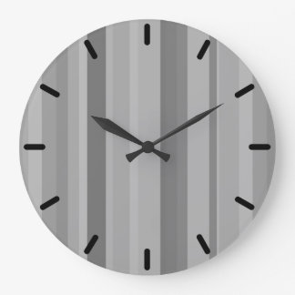 Grey vertical stripes large clock