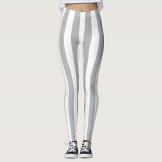 Grey Vertical Stripes Leggings