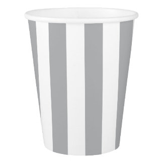 Grey Vertical Stripes Paper Cup