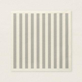 Grey Vertical Stripes Paper Napkins