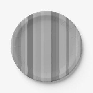 Grey vertical stripes paper plate