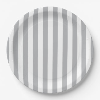 Grey Vertical Stripes Paper Plate