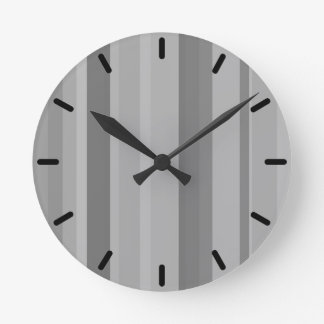 Grey vertical stripes round clock