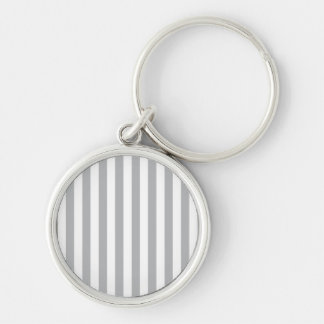 Grey Vertical Stripes Silver-Colored Round Keychain