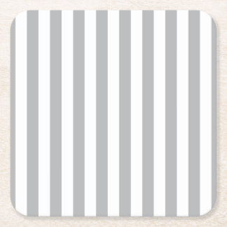 Grey Vertical Stripes Square Paper Coaster