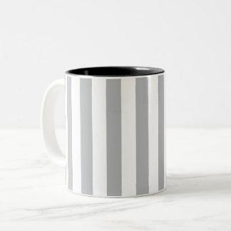 Grey Vertical Stripes Two-Tone Coffee Mug
