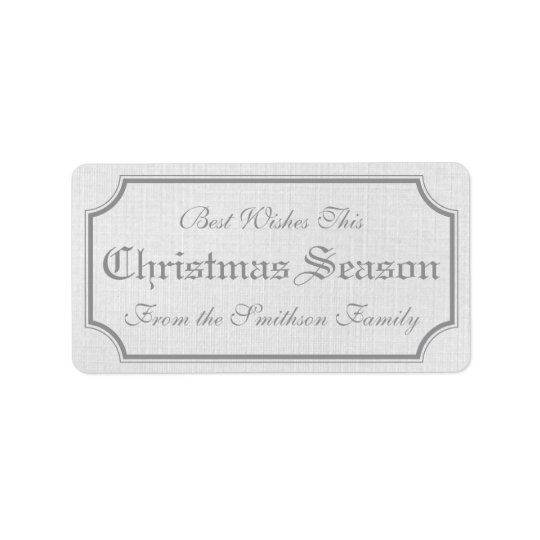 Grey Vintage Christmas Gift Label Stickers