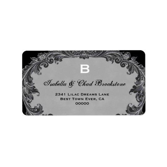 Grey Vintage Curlicue Wedding Monogram G460