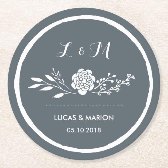 Grey Vintage Flower Bouquet Monogram Wedding Party Round Paper Coaster