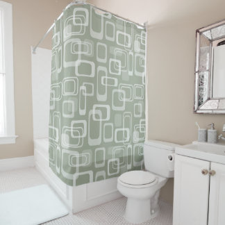 Grey vintage mod 60s retro pattern shower curtain