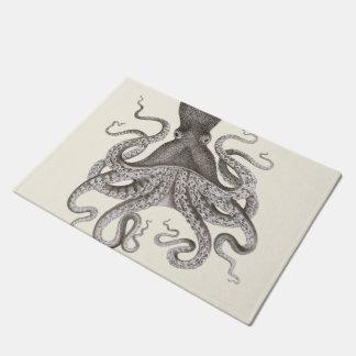 Grey Vintage Octopus Illustration Doormat