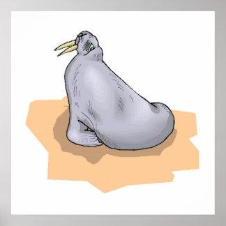 Grey Walrus Print