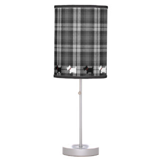 Grey Watch Tartan Plaid Pattern with Scottie Dogs Table Lamp