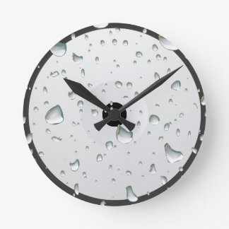 Grey Water Drops Wall Clock