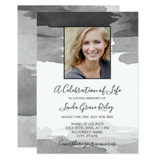 Grey Watercolor - Photo - Celebration of Life Card