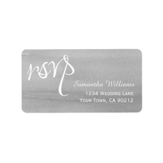 Grey Watercolor Wedding RSVP Labels