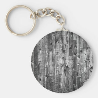 Grey Weathered Wood Wall Texture Basic Round Button Keychain