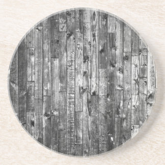 Grey Weathered Wood Wall Texture Beverage Coasters