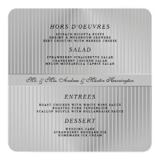 Grey Wedding Menu Template Round or Square Card