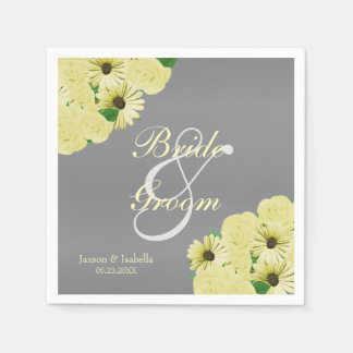 Grey Wedding Satin and Pastel Yellow Disposable Napkin