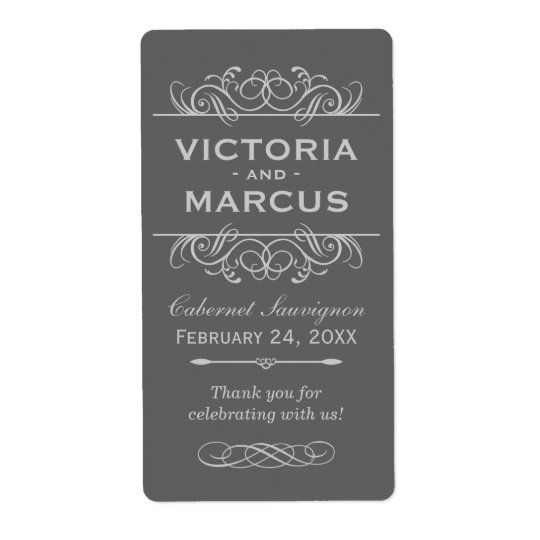 Grey Wedding Wine Bottle Monogram Favour Labels