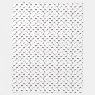 Grey Weimaraner Silhouettes on White Background Fleece Blanket