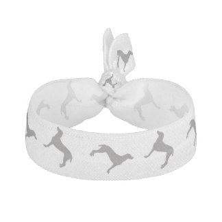 Grey Weimaraner Silhouettes on White Background Ribbon Hair Ties