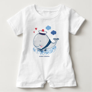 Grey Whale in a Hat Baby Romper