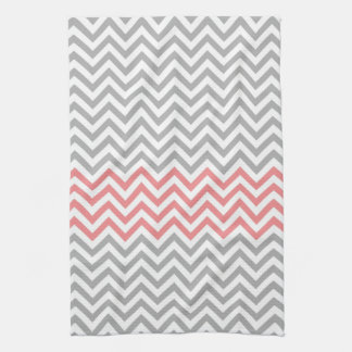 Grey, White and Coral Chevron Kitchen Towel