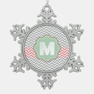 Grey, White and Coral Chevron Pewter Snowflake Ornament
