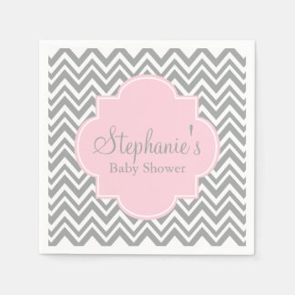Grey, White and Pastel Pink Chevron Baby Shower Paper Napkin