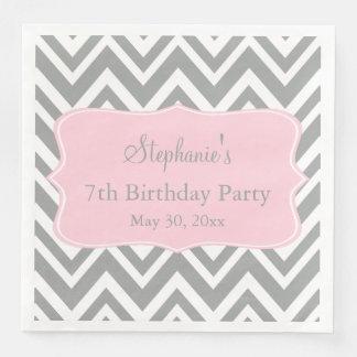 Grey, White and Pastel Pink Chevron Birthday Disposable Napkins