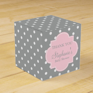 Grey, White and Pastel Pink Polka Dot Baby Shower Favor Box