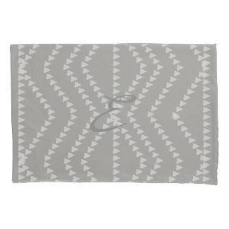 Grey White Arrows Pattern  Monogram Pillow Case