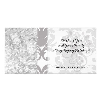 grey white baroque damask personalized photo card