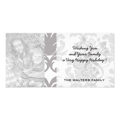 grey white baroque damask photo greeting card