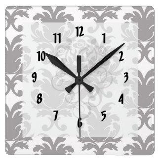 grey white baroque damask square wall clock